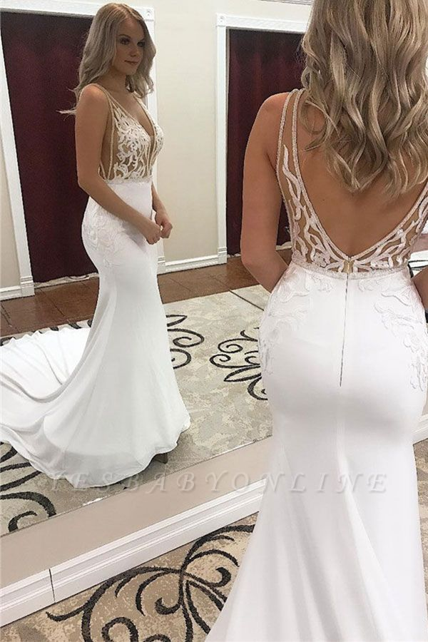 Glamorous Straps Appliques V-Neck Mermaid Wedding Dresses