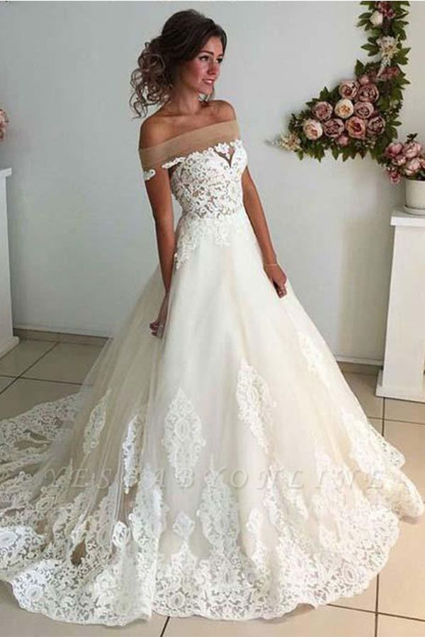 Sparkly A-line Lace Appliques Wedding Dresses | Off-the-shoulder Tulle Bridal Gowns