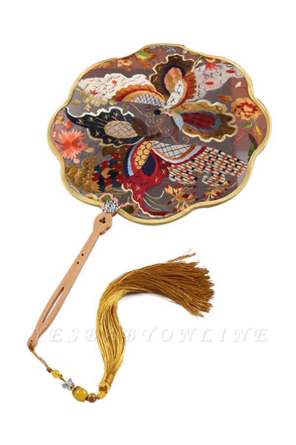 Chinese Traditional Double-Sided Hand-Embroidered Round Fan With Hand Tassels