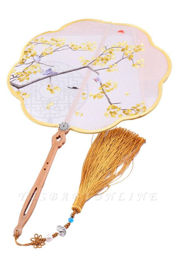 Chinese-Style Double-Sided Hand-Embroidered Circular Fan With Hand Tassels
