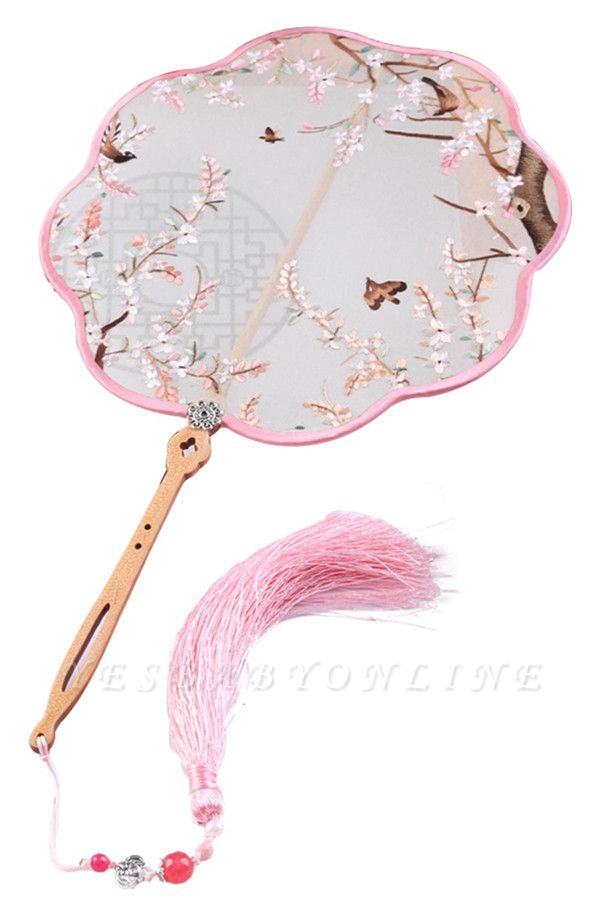 Chinese-Style Double-Sided Su Embroidered Hand Silk Fan With Hand Tassels
