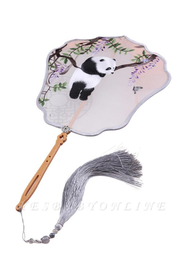 Chinese Classical Hand-Stitched Panda Decoration Eight Petal Fan With Tassel Pendant