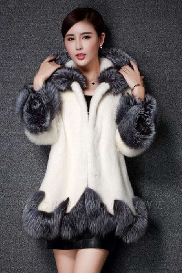 Women's Fashion Hooded White Fox Fur Coat