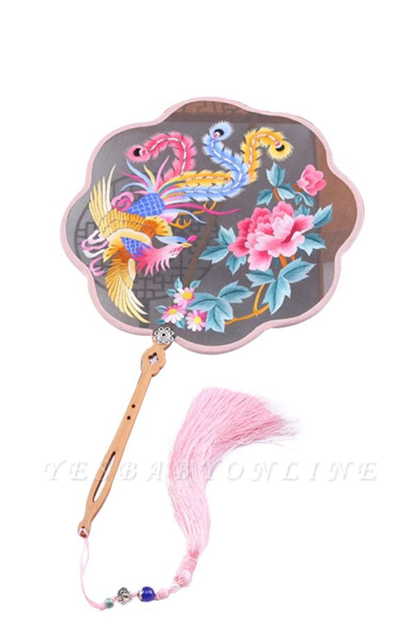 Chinese Traditional Double-Sided Su Embroidery Round Fan With Tassel Pendant