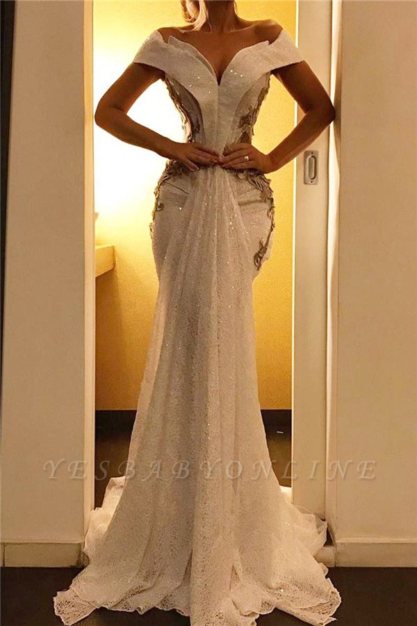 Off the Shoulder Sweetheart Sweep Train Sexy Mermaid Prom Dresses