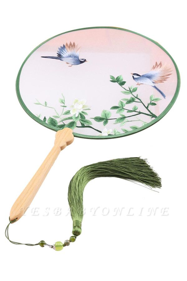 Chinese Traditional Double-Sided Hand-Embroidered Circular Fan With Tassel Pendant