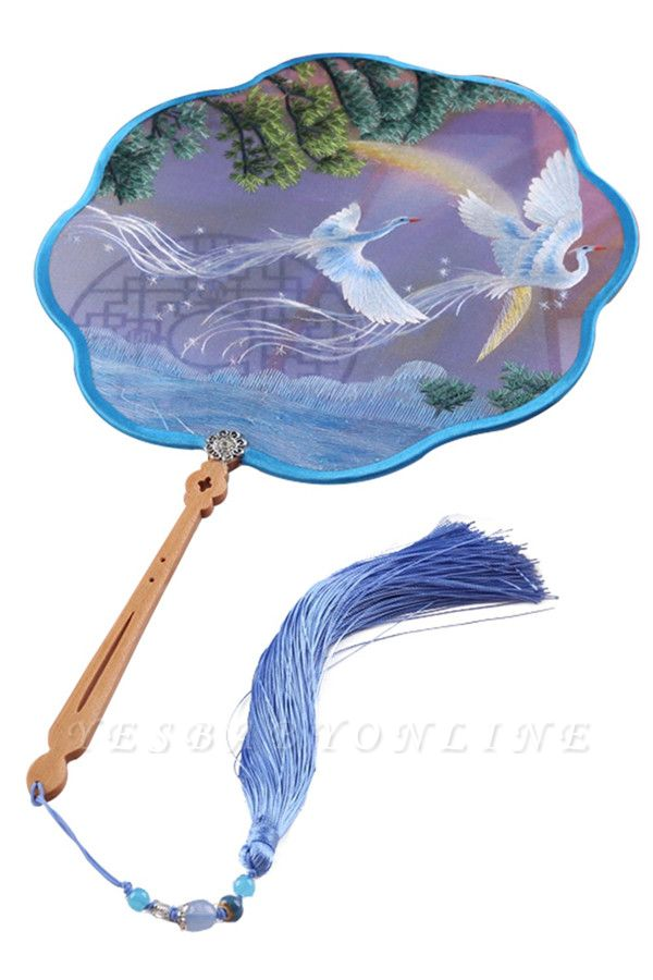Red-Crowned Crane Hand Embroidery Chinese Wave Side Place Fan