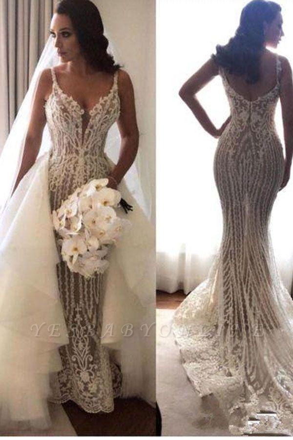 Glamorous Spaghetti Straps Sleeveless Sexy Mermaid Lace Appliques Wedding Dress
