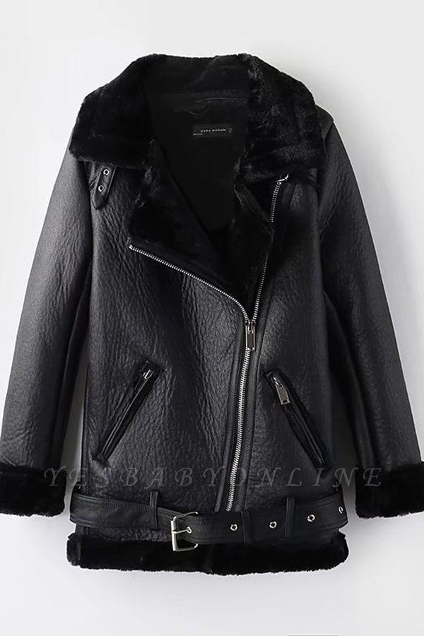 Women's Winter Velvet Pu Leather Jacket