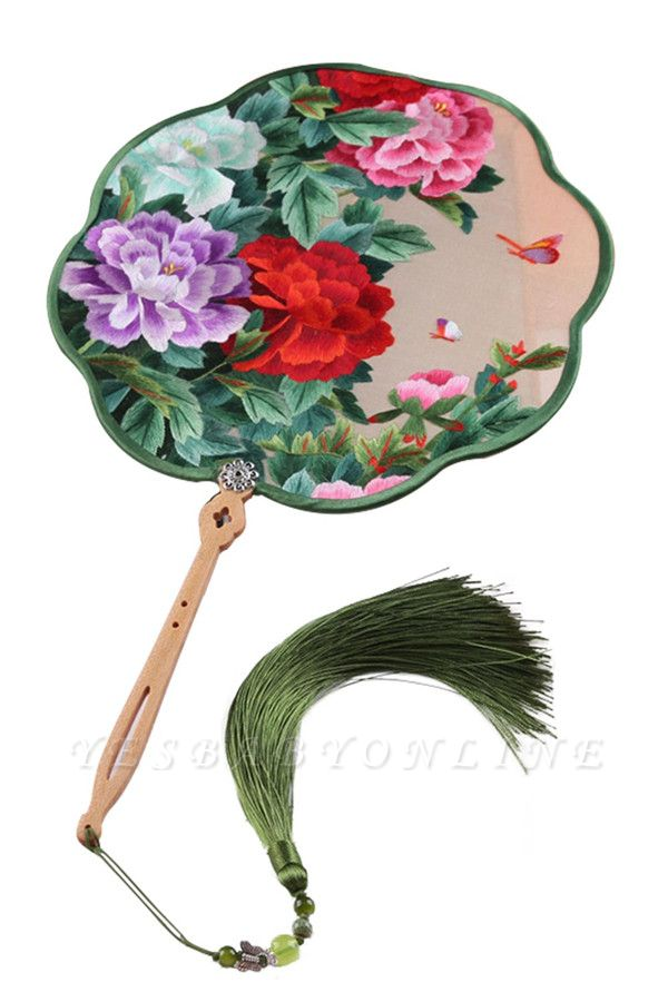 Classic Chinese Double-Sided Hand-Stitched Decoration Cut Silk Circular Fan With Tassel Pendant