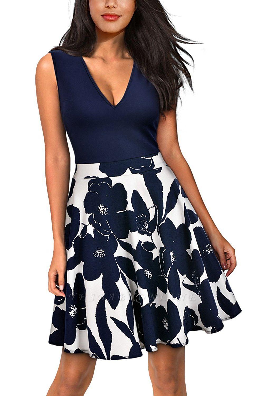 V-neck Sleeveless Above Knee Patchwork Dress