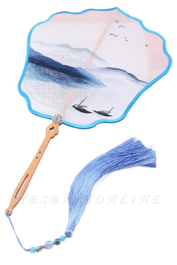 Classic Landscape Double-Sided Su Embroidery Silk Fan With Hand Tassel
