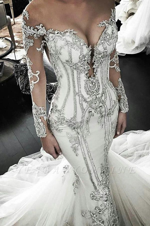 Classic Appliques Mermaid Wedding Dresses | Off-the-Shoulder Long Sleeves Bridal Gowns