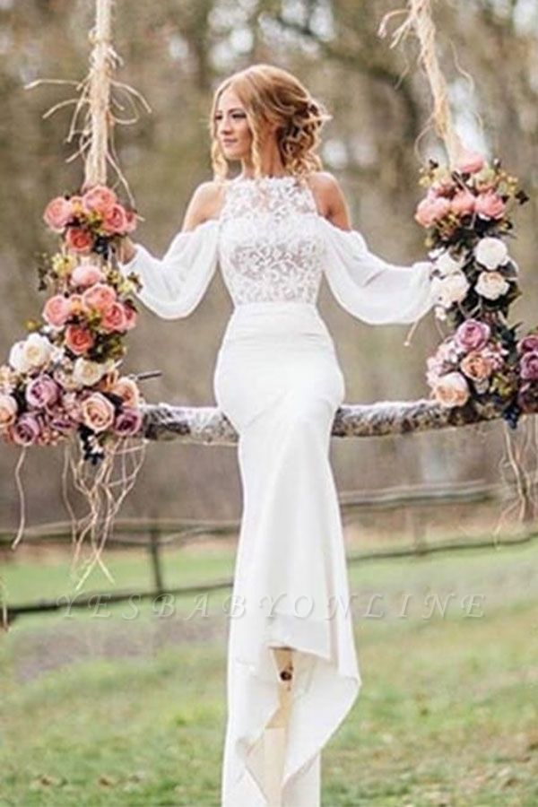 Off-the-Shoulder Long Sleeves Chiffon Mermaid Wedding Dresses