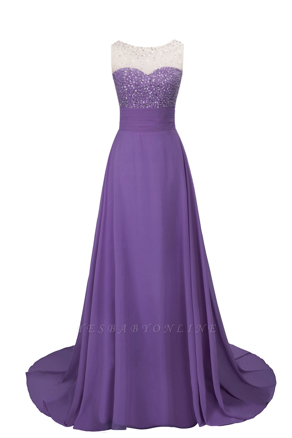 Cheap Grape A-line Sleeveless Sweep Train Prom Dress