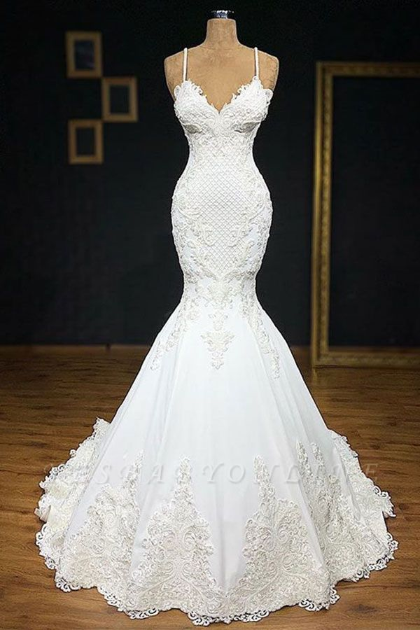 Elegant Spaghetti-Straps Applique Mermaid Wedding Dress