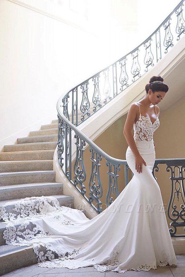 Sexy Spaghetti Strap Wedding Dress | Mermaid Chiffon Lace Bridal Dress