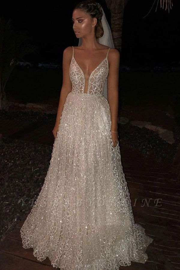 Glamorous A-Line Sequins Wedding Dress | Spaghetti-Straps Long Lace Bridal Gowns  BC2481