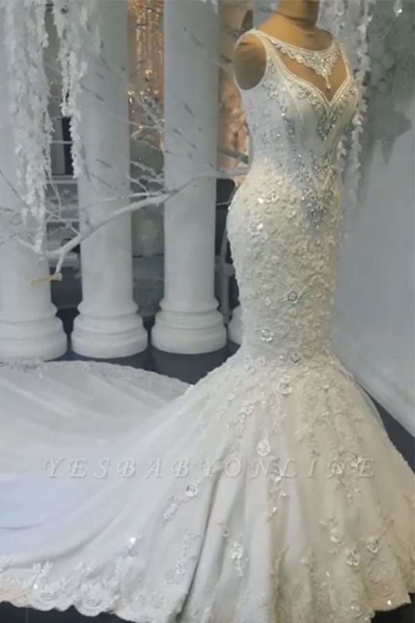 Charming Mermaid Sleeveless Wedding Dresses | Floral Crystals Appliques Bridal Gowns