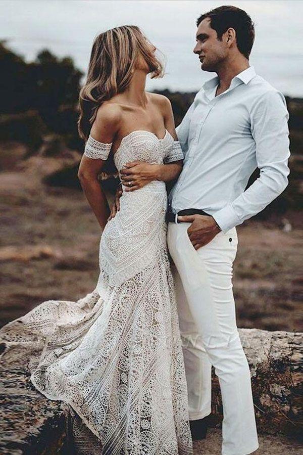 Sweep-Train Mermaid Lace Strapless Sweetheart Backless Wedding Dress