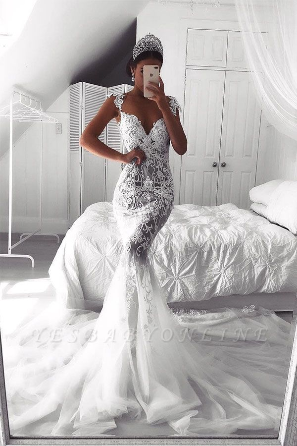 Sexy Lace Mermaid Wedding Dresses | See-Through Cap Sleeves Bridal Gowns