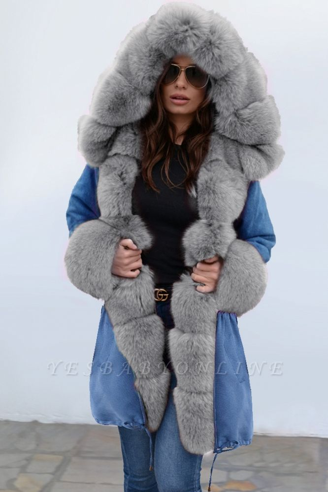 Parka Coat with Premium Fur Trim and Faux Fur Hood