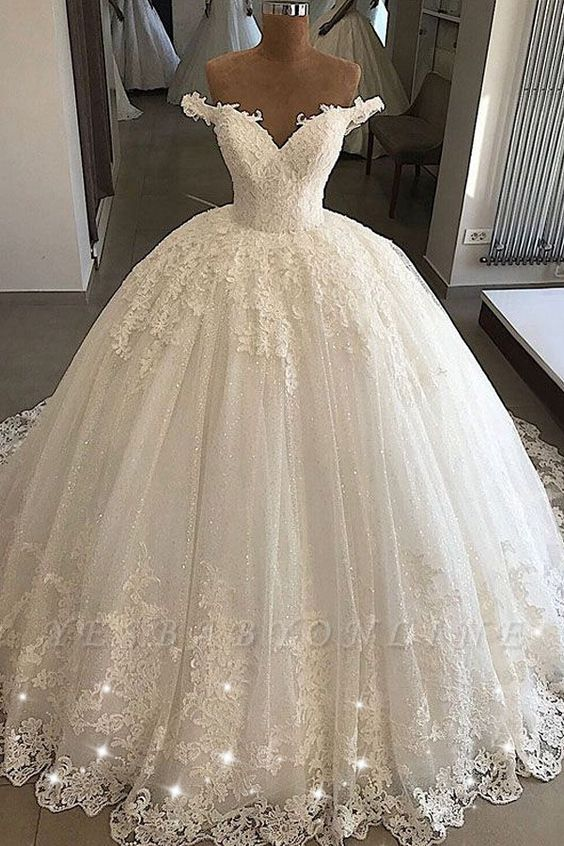 Charming Sweep Train Off the Shoulder Sweetheart Ball Gown Tulle Lace Wedding Dresses