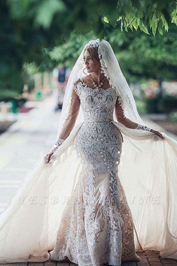 Glamorous  Long Sleeves Mermaid Lace Wedding Dresses | Scoop Appliques Detachable Skirt Bridal Gowns
