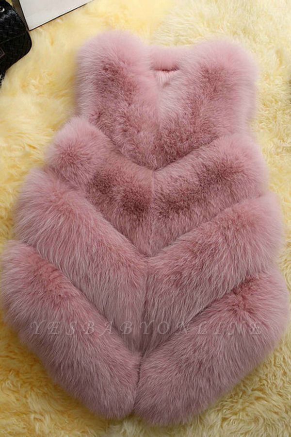 Grey Collarless Layered Fox Fur Gilet