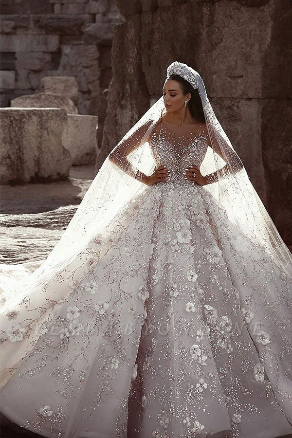 Glittery Floral Bridal Gowns    See Through Neck Long Sleeves Ball Gown Wedding Dresses
