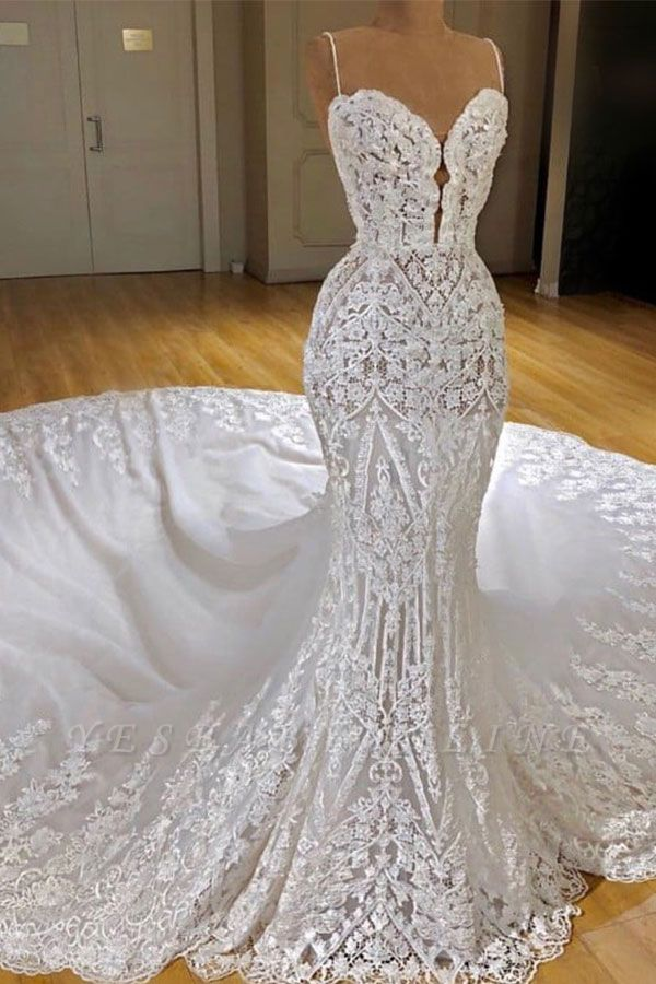 Gorgeous Lace Mermaid Wedding Dresses   Spaghetti Straps Fit and Flare Bridal Gowns