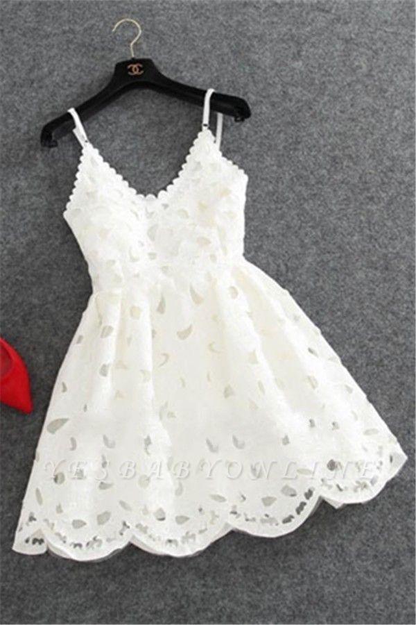 Short White Lace Cute Mini Spaghettis-Strap Homecoming Dress