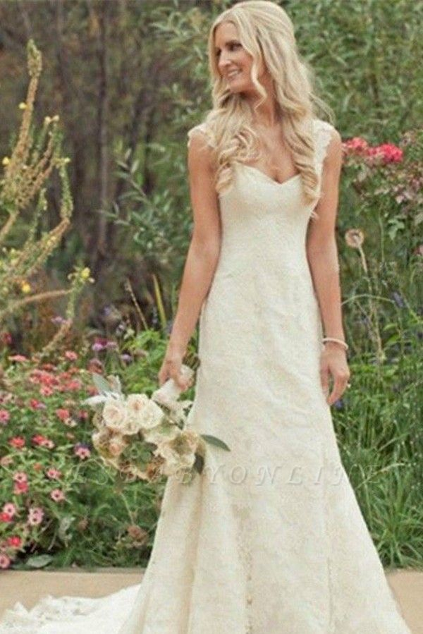 V-neck Lace Sleeveless Sweep Train Sexy Mermaid Wedding Dresses