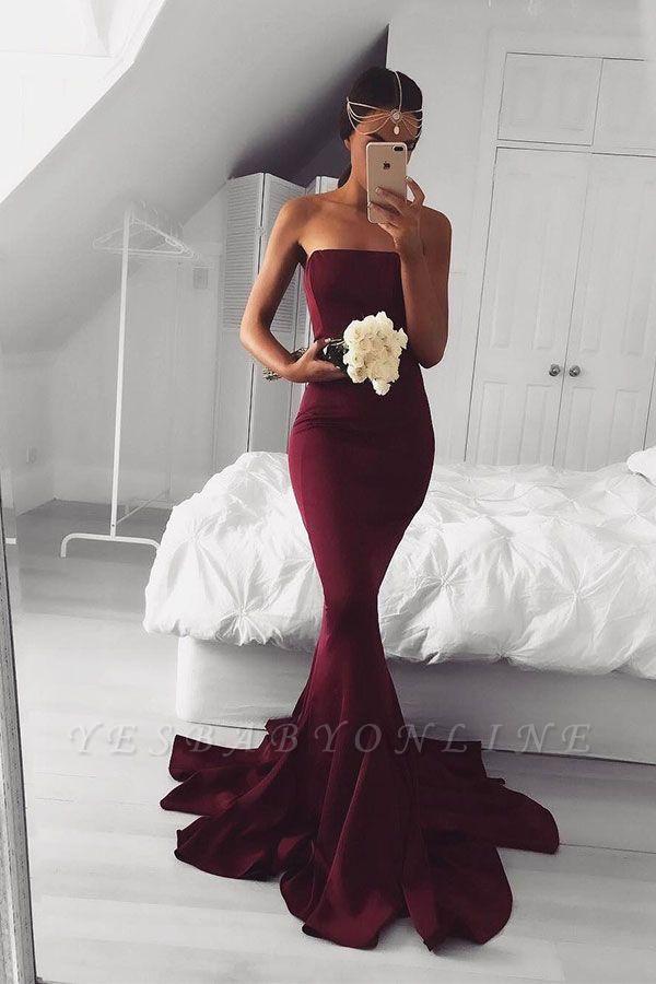Simple Strapless Burgundy Prom Dresses Plain Long Mermaid Evening Gowns