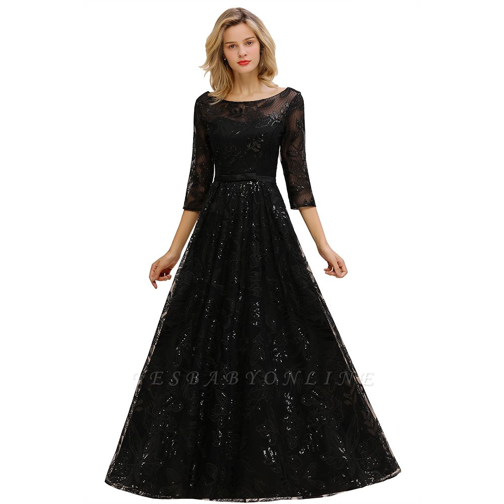A-line Round Neckline Sexy Lace Prom Dresses | Black Evening Dresses