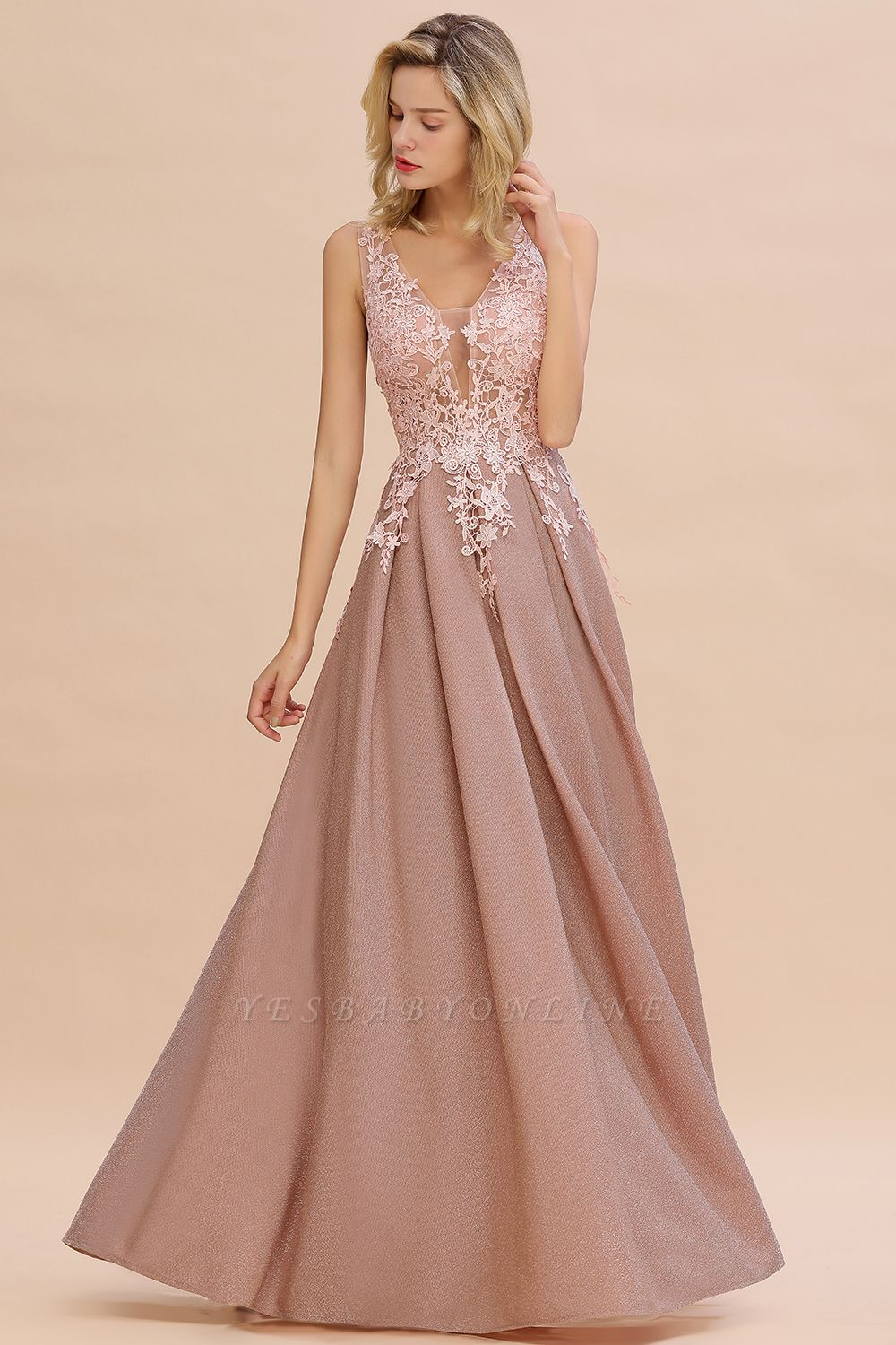 Elegant Sleeveless V-neck Floor Length Appliques Prom Dresses | Cheap Backless Evening Dresses