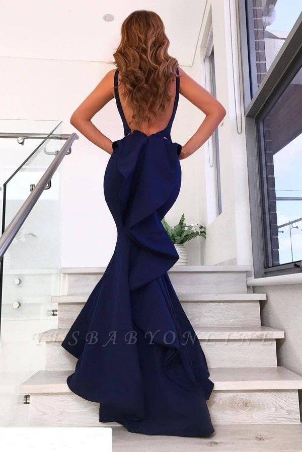 V-Neck Sleeveless Backless Mermaid Court Train Evening Dresses