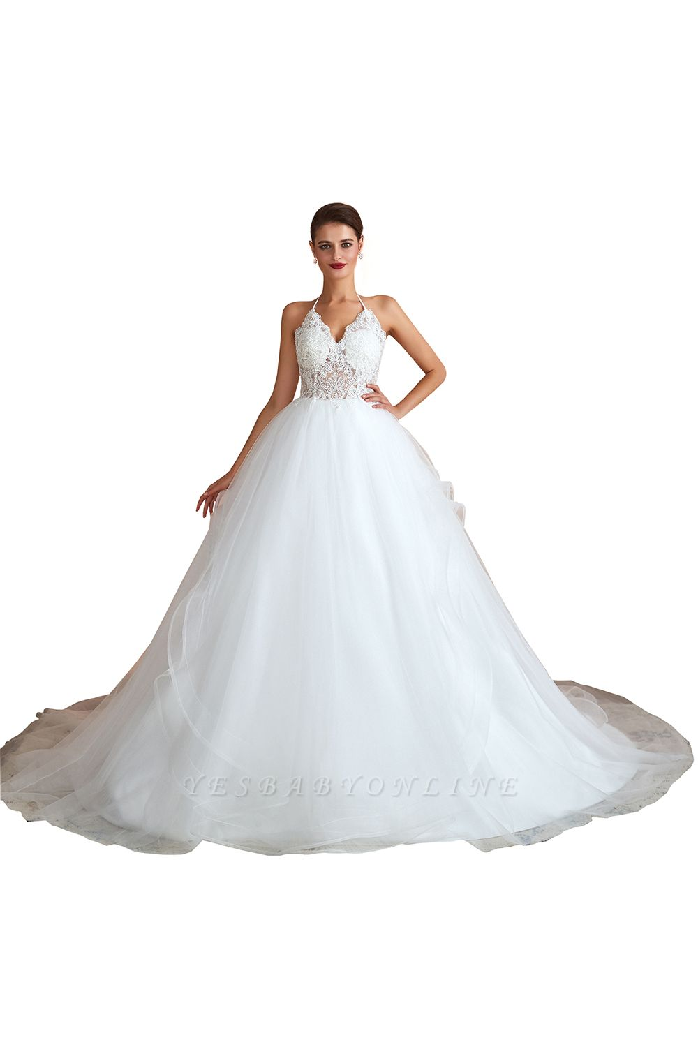 Halter Backless Sexy Cheap Ball Gown Wedding Dresses | Affordable Tulle Bridal Gowns