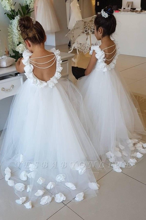 Sweet Tulle Appliques Backless Flower Girl Dresses with Pearls