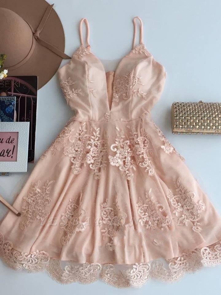Spaghetti-Strap Zipper Cute Sleeveless Lace Short Homecoming Dress