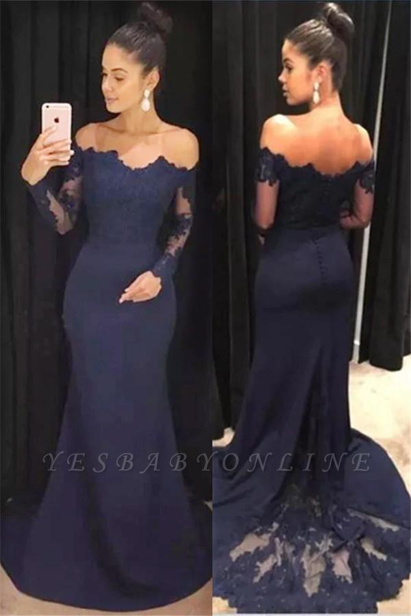 Long Sleeves Navy New Mermaid Blue Evening Dresses