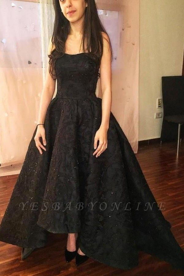 Black High-Low Prom Dresses | Sparkly Puffy Sleeveless Evening Gowns