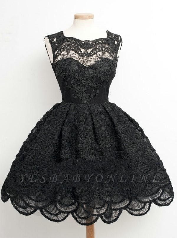 Lace Black Knee-Length Short Homecoming Dress | Stunning Short Prom Dresses