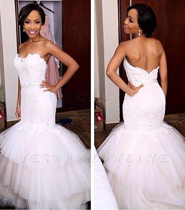 Appliques Crystal Tiered Sweetheart Mermaid Tulle Newest Wedding Dress