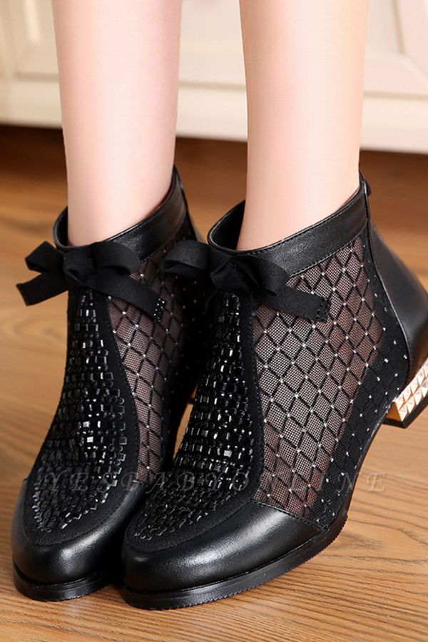 Black Chunky Heel Bowknot Casual Mesh Boots On Sale