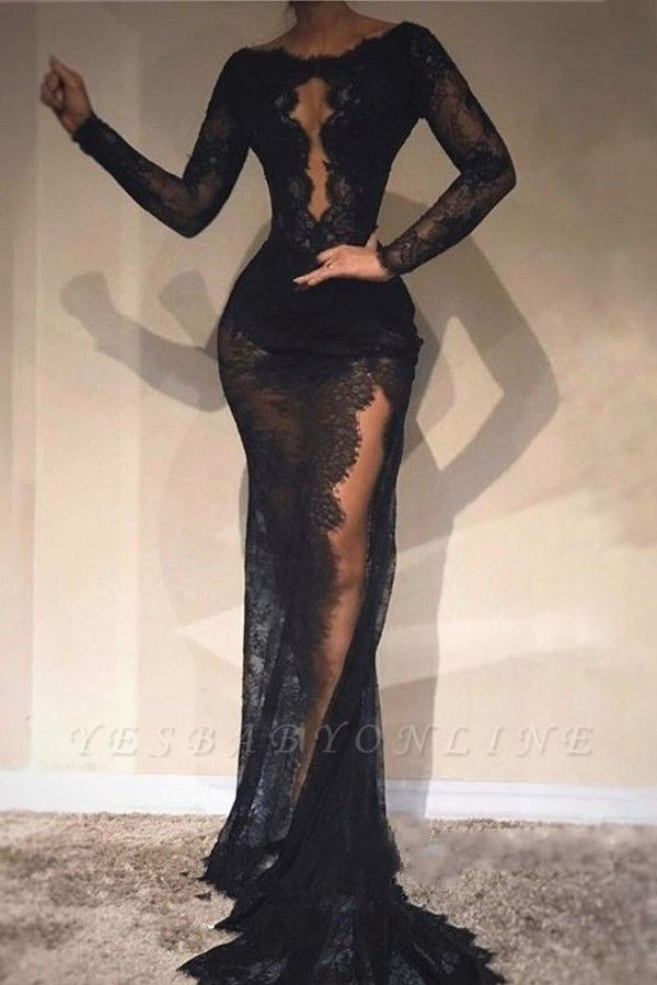 Black Long Sleeves Evening Dresses   Scoop Lace Side-Slit Prom Dresses