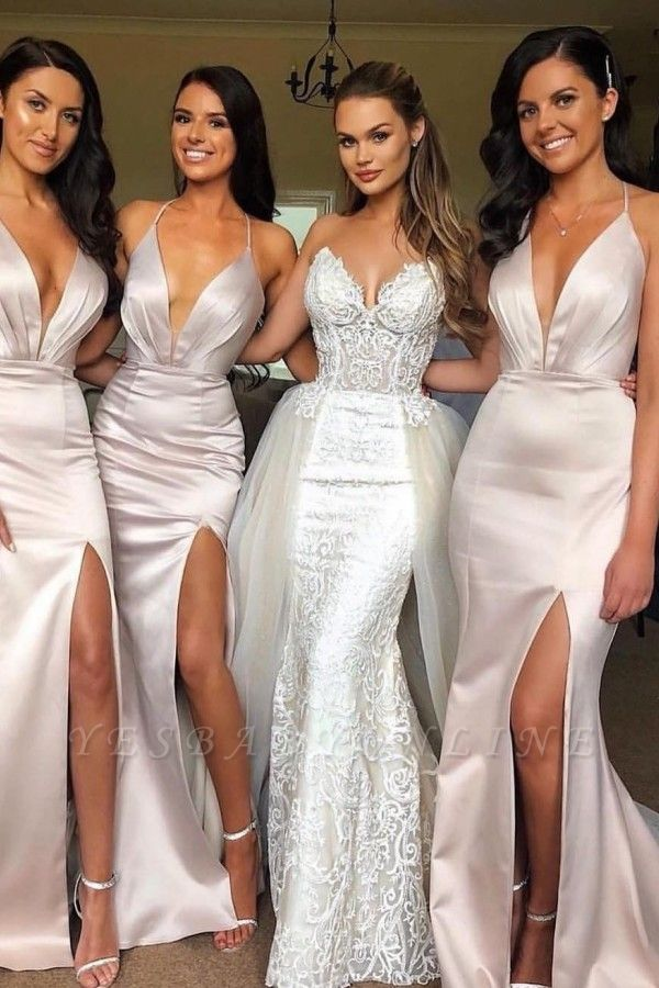Sexy Slit Mermaid Bridesmaid Dresses | Spaghetti Straps Long Wedding Party Dresses