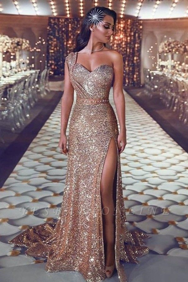 Gorgeous Mermaid Sequins Prom Gowns | One Shoulder Evening Dress With Slit