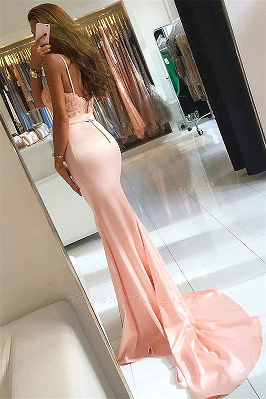 Sleeveless Spaghetti-Strap Lace-Appliques Mermaid Newest Prom Dress