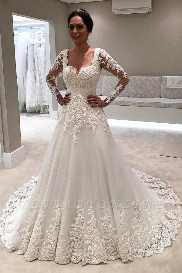 Glamorous Long Sleeves Wedding Dresses | Lace-Appliques Tulle Bridal Gowns